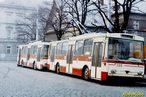 Škody 14 Tr ev.č. 355 a 359 odpočívají před vozovnou. - 1985