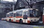Škoda 14 Tr ev.č. 413 před trolejbusovou vozovnou v dnešní Cukrovarské ulici. - 11.12.1987