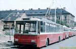 Škoda 14 Tr ev.č. 356 v čele kolony odstavených vozů v dnešní Presslově ulici. - 11.9.1988