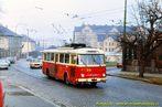Škoda 9 Tr ev.č. 310 projíždí místy dnešní zastávky U Plynárny  - 1984