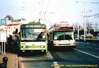 Škoda 14 TrM ev.č. 438 a zkušební trolejbus pro Boston u nádraží. - 2004/2005