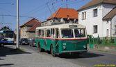 Škoda 6 Tr ev.č. 135 spolu s 17 Tr během fotozastávky v Sušické ulici. - 24.9.2006