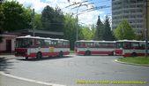 Karosy 420, 403 a 404 odpočívají na konečné Bory, Heyrovského.  - 10.5.2008