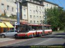 Škoda 15 TrM ev.č. 6629 vjíždí do zastávky Trenčianska. - 8.7.2010