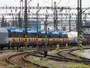 Pohled na všech pět vagonů s 26 Tr pro Sofii již v soupravě vlaku mezi plzeňským nákladovým a hlavním nádražím. - 15.7.2010