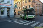 Škoda 14 TrM ev.č. 450 po mimořádném otočení kolem CAN ztáčí z Tylovy do Koperníkovy ulice. - 15.3.2012
