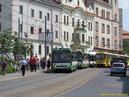 Po obnovení provozu je v čele uvízlých trolejbusů zachyceno ev.č. 455. - 29.6.2012