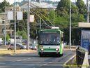 Na linku 16 jsou v ranní špičce vypravovány i krátké trolejbusy. Na jednom z těchto kurzů, 16/18, je zachycena 14 TrM č. 446. - 24.7.2013