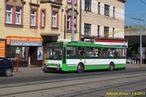 Škoda 14 TrM ev.č. 443 obsluhuje dočasnou zastávku Hlavní nádraží ČD, U Ježíška v Mikulášské ulici. - 1.8.2013