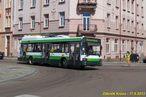 Škoda 21 Tr ev.č. 489 při odklonu zatáčí z Hálkovy zpět na obvyklou trasu do Koperníkovy. - 17.8.2013