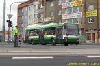 Škoda 21 Tr ev.č. 489 projíždí křižovatkou Belánka kolem uzavřené Klatovské třídy. - 11.9.2013