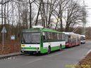 Běžný provoz na konečné Borská pole narušuje trolejbus Iveco Crealis Neo pro Bolognu. - 14.1.2015