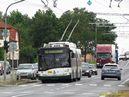 Vůz 536 na zkráceném spoji linky 12 k Mrakodrapu projíždí po Domažlické třídě. - 14.7.2015
